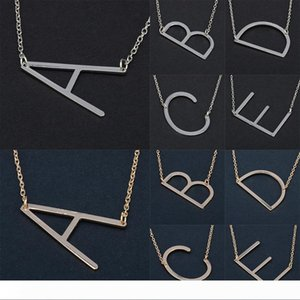 Stainless Steel English A-Z 26 Letters Initial Necklace Silver Gold Pendant Chain for Women House Name Fashion Jewelry Letter Necklaces