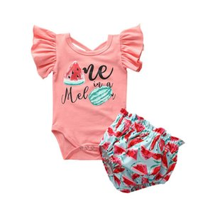 2020 new Summer fruits baby girls suits cotton Newborn Outfits Infant Outfits girls sets rompers+shorts 2pcs set baby girl clothes B1610