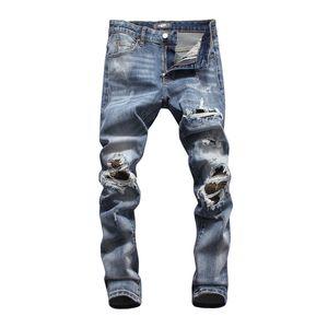 Wholesale Classic Hip Hop Pants Jeans Designer Pants Mens Slim Straight Biker Skinny Loophole Jeans Men Ripped Jeans Summer denim shorts