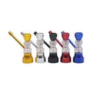 Mini Hookah Tobacco Smoking Cigarette Metal Hand Water Dry Herb Pipe Filter 5 Color Screen Glass Hourglass PipesShisha