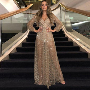 2020 Hot Sale Champagne Sexy V-neck Backless A-line Women Prom Dress Bling Sequins Long Sleeves Evening Dress Ankle-length Party Dress