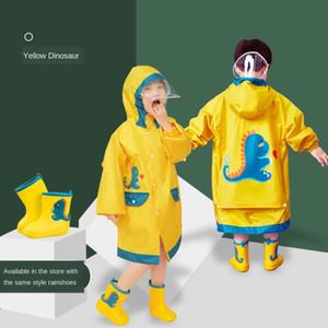 crianças aluno menino mochila de dinossauro com engrenagem capa de chuva poncho bebê grande Schoolbag chuva Manto capa de chuva do jardim de infância da menina da criança criança