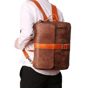 고품질 암소 정품 가죽 다기능 가방 더블 지퍼 백팩 서류 가방 여행 사무실 이중 사용 어깨 가방