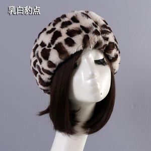 okgYt Imitation fur thin hat empty hat warm cap ring head cover travel photo rabbit hair headgear headgear short plush cordless cap leopard