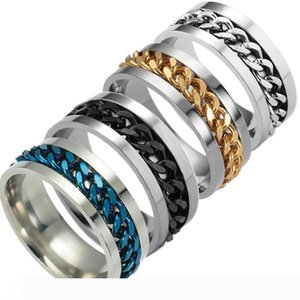 Newest High end boutique men's stainless steel gold black silver chain rotatable ring finger tide personality 5colors