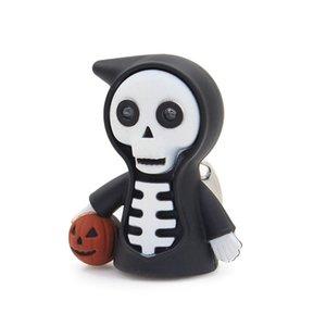 할로윈 크리 에이 티브 LED 사운드 키 체인 죽음 해골 호박 장식 자동차 열쇠 고리 소년 소녀 할로윈 파티 선물