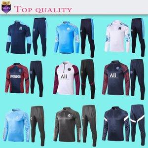 2021 마르세유 남성 L.GUSTAVO PAYET 축구 재킷 트레이닝 복 2020 2021 파리 MBAPPE 축구 운동복 옷 + 바지 S-XXL