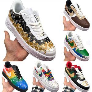 Kesim Deri Kaykay Ayakkabı Origials AF1 Düşük En Tampon Kauçuk Built_in Zoom Air Kıtıklanması Spor Ayakkabıları