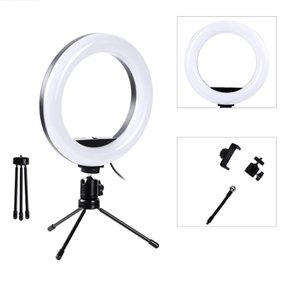 Photography LED Selfie Ring Light Dimmable Camera Phone Ring Lamp 20cm With Mini Table Tripods For Makeup Video Live Portrait