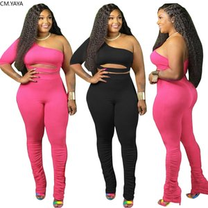 Women Tracksuits Plus Size XL-4XL One Shoulder Crop Tops Stacked Flare Jogger Pants Suit Two Piece Set Sport Tracksuit Outfits