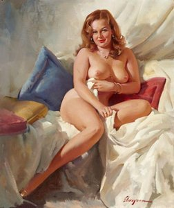 Modern Fashion Lady Posters & Prints Gil Elvgren Nude Art Sexy Woman Canvas Oil Painting Romantic Wall Art Pictures for Bedroom Home Decor