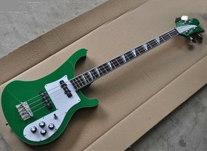Factory Direct Sale 4 Strings Dark Green Electric Bass with White Pickguard,Rosewood Fretboard,Providing Customized Service