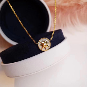 Upgraded version D family s925 sterling silver necklace compass necklace women's eight Awn star necklace jewelry