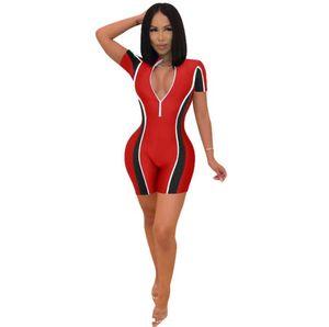 Women Sexy Bodysuit Patchwork Color Zipper Short Rompers Womens V-Neck Jumpsuit Overalls For Women
