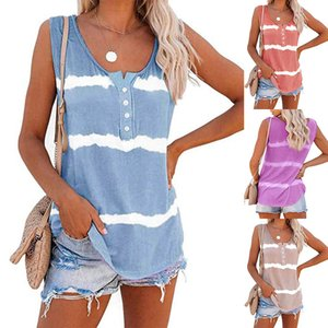 Summer Womens Casual Sleeveless Dye Tie Print Striped 4 Button Front Loose Blouse Fashion Beach Party TShirts Tops