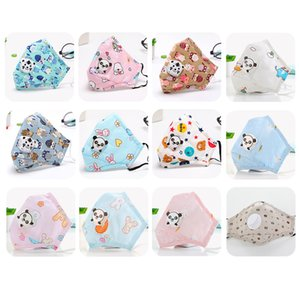 Cotton Kids Face Mask with valve Reusable Fashion Designer Face Mask Replaceable Pm2.5 Filter Layer Cartoon Print Washable Cloth Mouth Mask
