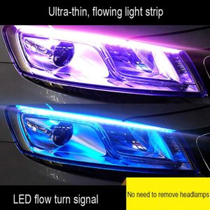 1 Piece voiture ultra-mince LED Feux de jour Lumière douce Tube LED Strip coloré Guide lumière eau Strips voiture Strip