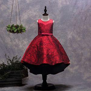 New Arrival Knee-high Hi-low Dark for Girls in Flowered Dresses 2020 Applique Flower Children's Elegant Dresses for Girls Dresses for the Co