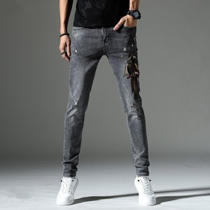 Fashion new men's jeans cool men's clothes make old ragged jeans fashion designer straight motorcycle motorcycle jeans causal cow street clo