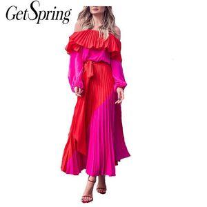 GetSpring Women Dress Slash Off Shoulder Dresses Evening Party Dress Plus Size Summer Dresses Bandage Pleated Long Red Dress CX200707