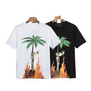 European and American summer new PALM flame coconut palm letter shirt PA ANGELS round neck short sleeve T-shirt men and women