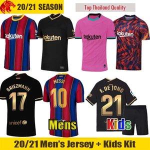 20 21 FC Barcelona camisa de futebol ANSU FATI camiseta de futbol 2020 Messi GRIEZMANN DE JONG camisas de futebol camisa homens crianças kit camisa de futebol