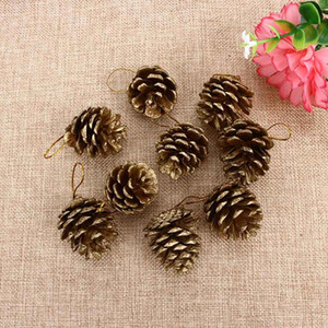 9PCS New Vogue Christmas Gold Pine Cones Baubles Xmas Tree Decoration Ornaments Gift Decor Party Supplies
