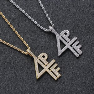 Hip Hop Cubic Zirconia Pave Bling Iced Out 4PF Pendants Necklaces for Men Rapper Jewelry