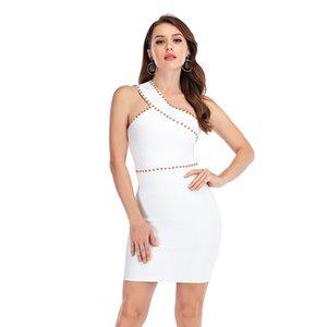 New Fashion White Dress One-Shoulder Beaded Elegant Birthday Party Knitted Elastic Women Bodycon Celebrity Bandage Dress Vestido