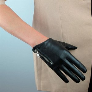 2019 Latest Genuine Leather Gloves Female Short Sheepskin Gloves Fashion Simple Zipper Decoration Woman's Leather NS23