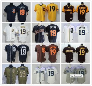 2019 Mens Youth Women Padres #19 Tony Gwynn Baseball Jersey Home Away Blue White Grey Cream Brown Camo Pullover Retro Cool Base Stitched