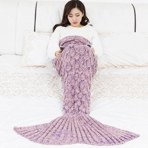 Super Soft Knitted Mermaid Tail Blanket Crochet Handmade All Seasons Sleeping Bag for Kids Adult Best Birthday Christmas Gift
