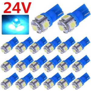 الكثير بالجملة 1000PCS DC 24V الثلج الأزرق السيارات T10 بقيادة الوتد 5SMD 168 194 ضوء لمبة 5050 T10 للسيارات شاحنة SUV قبة خريطة الباب لوحة ترخيص ضوء