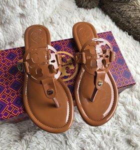2020 tirón de las mujeres zapatos de lujo de los fracasos de la señora clásica Miller sandalias de cuero genuino Diapositivas de pelo con la caja 00-ZJ