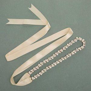 JLZXSY Handmade Thin Alloy Bridal Belt Rhinestone Wedding Dress Sashes Headband for Bride Bridesmaid (Silver,Rose Gold,Gold)