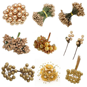 Presente de casamento de ouro Flor Artificial Fruit estames flor de cereja estame Bagas Bundle DIY Bolo de Natal Box Coroas Decor