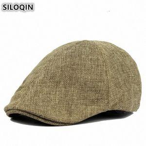 SILOQIN Zarif Kadın Düz Erkekler Kadınlar Çift Hat Yeni KC1F # için Bereliler Bayanlar Yaz Retro Erkek Cap Ultra ince Nefes Berets Caps