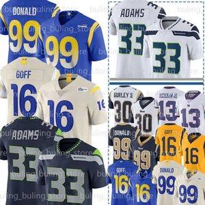 99 Aaron Donald Jersey 33 Jamal Adams 16 Jared Goff Gurley II Los AngelesRam Russell 3 Wilson SeattleSeahawksTrikots