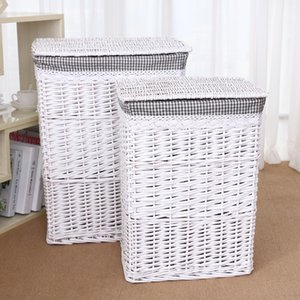 Natural Wicker Dirty Clothes Storage Basket Mesh Laundry Storage Bucket With Lid Large Capacity Household Organizer rattan woven T200624