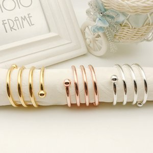 Alloy Napkin Rings Wedding Celebration Iron Wire Two Beads Napkins Buckle Hotel Golden Color Table Decorations 2 7hw L1