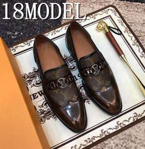 2019 Handmade Navy colors Calfskin luxurious men dress shoes with metal buckle Fashion Party and wedding men's loafers plus size 38-45