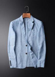 Herren Baumwoll-Blazer Frühlings-Sommer-Business-Leinenanzug Acket Männlich Thin-beiläufige Mantel Einreiher Blazer Männer mit Taschen ZKI12