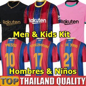 20 21 FC BARSELONA Futbol formaları camiseta de futbol ANSU FATI 2020 Messi GRIEZMANN DE JONG Futbol forması seti Erkekler KADIN Çocuk Kiti üniformalar