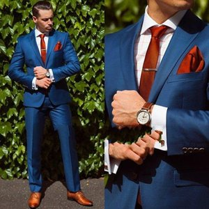 Handsome Blue Mens Wedding Tuxedos For Groom Slim Fit Notched Lapel Best Man Wear Party Prom Blazer Suit(Jacket+Pants)