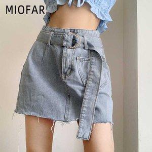 MIOFAR dril de algodón de la vendimia de las mujeres mini falda Highstreet correa de la manera de bolsillo de la falda corta Señora de cintura alta una línea de faldas de verano de mujeres