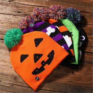 Led Halloween Knitted Hats For Pumpkin Acrylic skull cap Kids Baby Moms Warm Beanies Crochet Winter Caps party decor gift LXL332