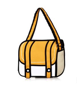 2020 neue Art und Weise 2D Taschen Neuheit zurück zu Schultasche 3D-Zeichnung Cartoon-Comic-Handtaschen-Dame Schultertasche Messenger 6 Farbe