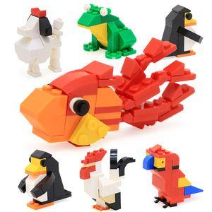 modèle perroquet jouet de construction capsule animale cadeaux modèle coq blocs de poissons rouges intelligents pour la maternelle des enfants intelligents blocs