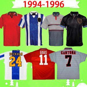 1994 1995 1996 맨체스터 축구 유니폼 유나이티드 94 95 96 남자 BUTT 긱스 로날도 # 24 베컴 KANCHELSKIS에게 # 7 칸토나 축구 셔츠를 UTD 복고풍