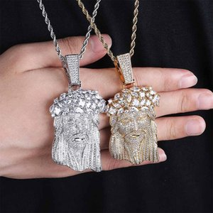 Top Quality 18K Gold Cubic Zirconia Big Jesus Portrain Necklace Pendant Iced Out CZ Cuban Chains Hip Hop Rapper Jewelry Gifts for Men Guys
